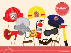 INSTANT DOWNLOAD - Printable Fireman Birthday Party Fireman/ Firefighter Photo Booth Props from Paper Built. $6.00, via Etsy.
