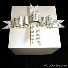 Book Page Gift Bows - A simple and inexpensive alternative to store-bought gift wrap.