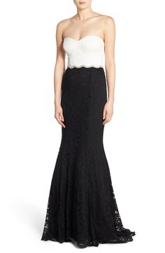 From Nordstrom: Way-In 'Ray' Colorblock Strapless Gown (I wouldn't wear it to a wedding because of the white top, but this is beautiful!)