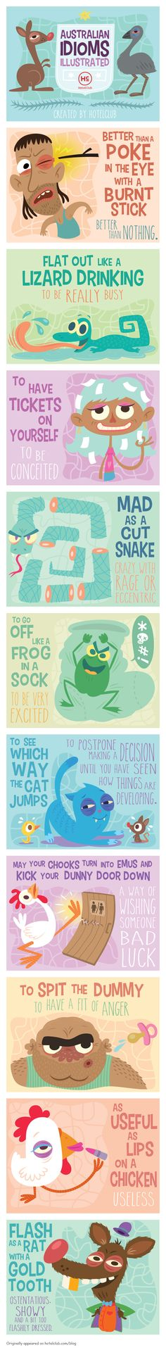 Educational infographic & data visualisation Common Australian Idioms Explained With Funny Illustrations Infographic Description Common Australian Idioms English Idioms, English Lessons, English Vocabulary, English Study, Learn English, Idioms And Proverbs, Idiomatic Expressions, Idioms And Phrases, Funny Illustration
