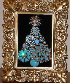 Vintage Fine Amp Costume Jewelry Framed Lighted Christmas