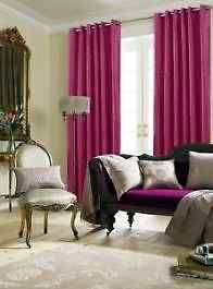 Faux Silk Magenta Lined Eyelet Curtains – Linen and Bedding