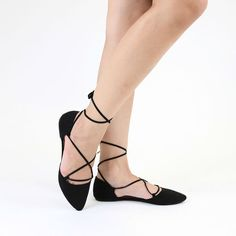 These black suede, lace up ballerina flats are a great way to put a stylish  twist on a classic shoe! Fits true to size