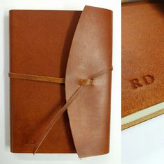 Real leather wrap notebook with simple embossing, handmade in Cork, Ireland.