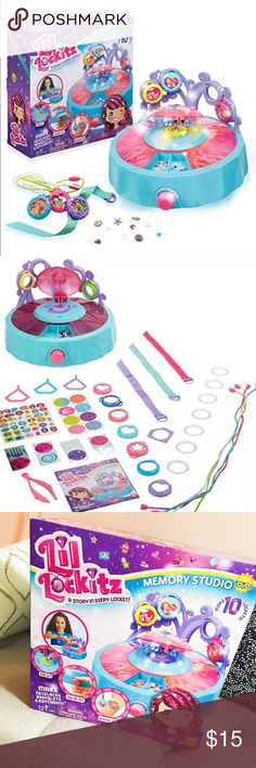 Lil lockitz memory studio DIY jewelry kit kids toy Brand new in the box / memory studio is your super deluxe design studio for creating lockitz, choose the locker you want to make , fill it white the perfect colors and pieces , lock it and with a turn of the knob , the lights and music infuse the locker with your personal story . Then you can wear it as a necklace , bracelet or even a clip ! alex toys  Other