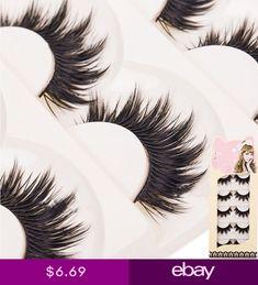 30ea63736c5 5 Pairs Long Natural Makeup Black Handmade Thick Fake False Eyelashes New  Stunning Makeup, Soft