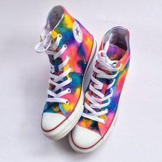 Rainbow Unicorn Vomit Tie Dye Custom Shoes Hand Painted Shoes