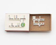 "Cute Anniversary Card/ Romantic Love Card/ Matchbox/ Handmade/ ""Seven billion…"