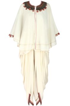 Ivory embroidered double layer cape with cowl dhoti and cami top available only at Pernia's Pop Up Shop.