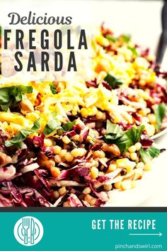 Of the Fregola Sarda recipes I've tried, this one is my favorite! A beautiful, versatile salad with raddicchio (or endive), hard boiled eggs, capers and a delightfully tangy, fresh lemon dressing. Hard Boiled, Boiled Eggs, Belgian Endive, Fresh Basil, Couscous, Real Food Recipes, Serving Bowls, Food To Make, Lemon
