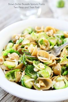 Brown Butter Brussels Sprouts Pasta with Hazelnuts Recipe on ...