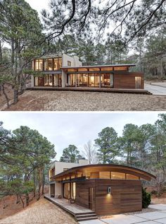 18 Modern Houses In The Forest 18 Modern House In The Forest // This secluded house makes the most of the surrounding forest and captures the views of the nearby bay. Roof Design, Exterior Design, Casas Containers, Building A Container Home, Container Homes, Forest House, Modern House Design, Modern House Plans, Tiny House