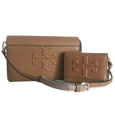 f1ddbc9643e3 TORY BURCH Bombe-T Set ~ Crossbody   Coin Case ~ Bark Brown Leather NWT