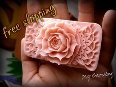 Carving soap Rose, Thai carving soap, Hand carved pink soap, Carved sculpture, wedding gift, birthday gift, Mother's day gift, FREE SHIPPING