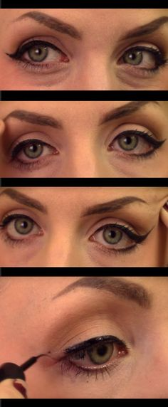 32 Best Makeup Tips for Deep Set Eyes - PERFECT WINGED EYELINER FOR DEEP-SET EYES - Easy tutorials on how to apply make up for deep set eyes - Great natural looks for the wedding, dark looks with eyeshadows and products like Urban Decay - Great cut crease looks for different brows and different hair colors - thegoddess.com/makeup-tips-deep-set-eyes