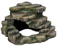 """10"""" = Trixie Turtle Steps Reptile Cave Corner Rock & Platform Fish Cave Ornament 76196"""