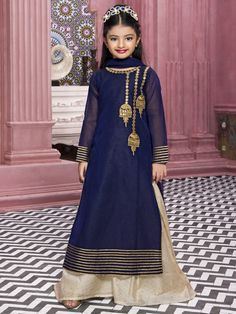 Blue Attractive Palazzo Suit for girls kids, indian fashion for girls, girls salwar suits, Kids Party Wear Dresses, Wedding Dresses For Kids, Baby Girl Party Dresses, Little Girl Dresses, Girls Dresses, Kids Salwar Kameez, Shalwar Kameez, Salwar Suits, Kids Gown