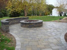 gorgeous patio with firepit