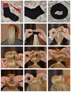 I GOTTA TRY THIS  #1:Put your hair up in a ponytail.    #2:Cut the toe off of a sock and roll it up until it looks like a donut.    #3:Put your ponytail through the middle of sock, but keep the sock at the end of your ponytail.    #4:Start rolling your hair around the sock, and keep rolling the edges under it until you have a bun!    #5: Pin in place, and you are done!