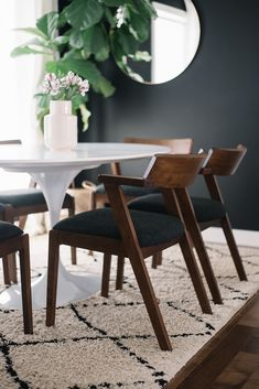 Black, White + Walnut: Our Dining Room Refresh with the Article Zola Dining Chair - Pinpon Round Wood Dining Table, Wooden Dining Chairs, Black Dining Chairs, Dining Nook, Eames Chairs, Dining Room Chairs, Dinning Table, Office Chairs, Dining Chair Makeover