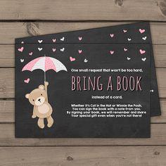 Baby shower Bring a book card Teddy bear Girl Baby shower