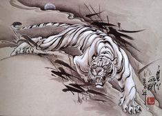 tattoos in japanese prints 4 Tattoo, Sick Tattoo, Body Art Tattoos, Sleeve Tattoos, Japanese Tiger Tattoo, Japanese Tattoo Designs, Graffiti Tattoo, Tiger Tattoodesign, Arte Yin Yang