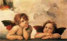 5 Renaissance Paintings You Should Know The Mona Lisa 1503 - 1505 Leonardo da Vinci The Creation of Adam 1511 Michelangelo Two Cherubs (detail of the Sistine Madonna) circa 1513 - 1514 Raffaello. Sistine Madonna, Madonna Art, Renaissance Kunst, High Renaissance, Renaissance Artists, Angels Among Us, Angels And Demons, Fallen Angels, Blue Angels