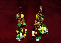 OOAK Lime Green Lemon Yellow Dancing Dangles by CAKKYSTUFF on Etsy, $65.00  These are by Kelley Karel also!  Usually don't post my own creations, but...