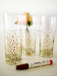 DIY Gold Sharpie Dot Glasses