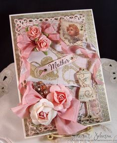 Vintage Mother's Day Card using product by LaBlanche, Our Daily Bread Designs, Kaisercraft, Prima, Spellbinders and May Arts, available at The Stamp Simply Ribbon Store.