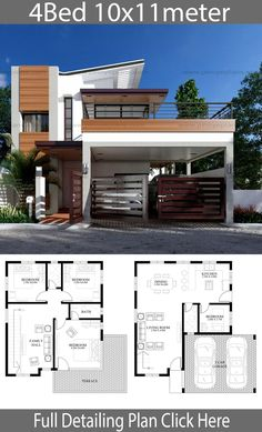 Modern home design with 4 bedrooms - Home Design with PlansearchYou can find Modern home design and more on our website.Modern home design with 4 bedrooms - Ho. House Design Photos, Small House Design, Modern House Design, 2 Storey House Design, Bungalow House Design, House Layout Plans, House Layouts, Model House Plan, Architectural House Plans