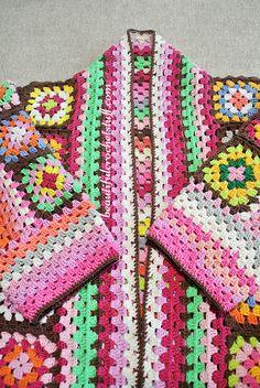 Crochet Jacket Pattern, Crochet Coat, Granny Square Crochet Pattern, Crochet Granny, Crochet Patterns, Crochet Blocks, Afghan Patterns, Square Patterns, Blanket Crochet