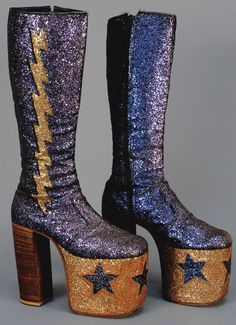 "vintagegal: ""Men's Glam rock Glitter Platform Boots c. 1970 (via) """
