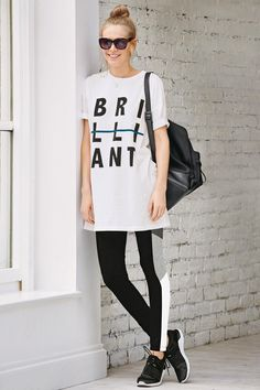 Buy White Long Line Slogan T-Shirt from the Next UK online shop