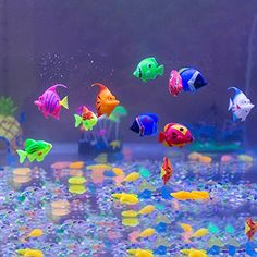 What colorful plastic fishes they are.My children loved them and put them in a large water lamp so they can bob around with the bubbles.We are so happy with these artificial fish.