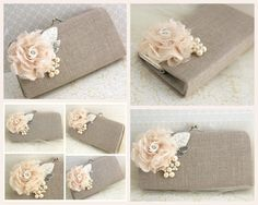 Clutch Linen Bridal and Bridesmaids Clutch Shabby Chic Rustic Wedding in Ivory and Nude -Set of 4 via Etsy