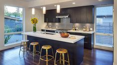 Photo Gallery - Blu Homes I like the white counter top with black cupboards, and the tile