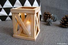 DIY: Scandinavian lantern with ice cream sticks Skandynawska latarenka z drewna zrób to sama DIY Ice Cream Stick Craft, Popsicle Stick Art, Diy Ice Cream, Craft Stick Crafts, Diy And Crafts, Arts And Crafts, Dollar Tree Decor, Diwali Decorations, Xmas