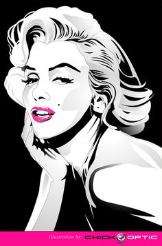 Marilyn Monroe digital drawing by chick_optic' | This image first pinned to Marilyn Monroe Art board, here: http://pinterest.com/fairbanksgrafix/marilyn-monroe-art/ || #Art #MarilynMonroe