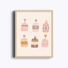 Petites bouteilles, flacons, déco murale, poster, poster à imprimer, bouteille, motifs, jolies choses, coeur de la boutique GraphiJoy sur Etsy