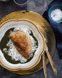 Molokhia with Spiced Chicken Recipe (thanks for making it sound so fancy and exotic, Food and Wine.)