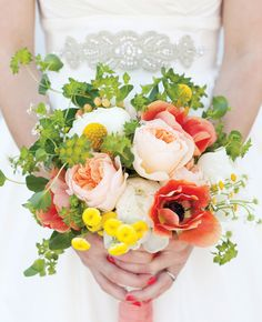 Bridal bouquet - I like the loose arrangement, pink, green & yellow, but I'd prefer less green