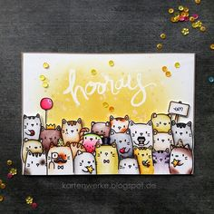 Kartenwerke, The Cat's Meow, Mama Elephant, Karte, Katzen, Hurra, Hooray, Distress Oxide Inks