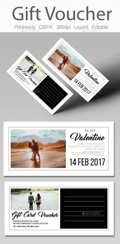 Valentines Day Gift Voucher Design Template - Cards & Invites Design Print Template PSD. Download here: https://graphicriver.net/item/valentines-day-gift-voucher/19325019?ref=yinkira