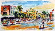 #Summer in #Sorrento #Italy Watercolor and Ink Original