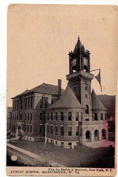 1910 MANNINGTON West Virginia W VA Postcard PUBLIC SCHOOL