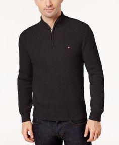 TOMMY HILFIGER Tommy Hilfiger Men's Quarter-Zip Sweater. #tommyhilfiger #cloth #