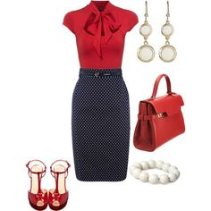 Red, black, white, bow blouse, and polka dot pencil skirt. Love it minus the jewelry