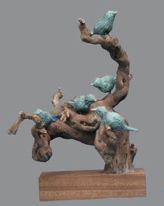 Galerie - Josefine-Art Clay Birds, Pet Birds, Wood Block Crafts, Garage Art, Bird Sculpture, Contemporary Sculpture, Arte Popular, Clay Animals, Animal Crafts