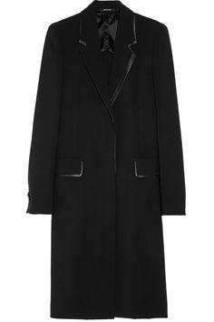 Maison Martin Margiela|Leather-trimmed wool-blend coat|NET-A-PORTER.COM